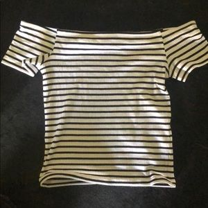 Tops - Short Sleeve Striped Off the Shoulder Top